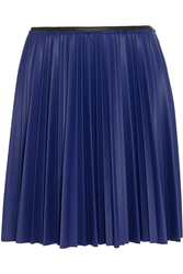 Ca Dric Charlier Color Block Pleated Faux Leather Mini Skirt