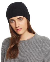 Bloomingdale's C By Waffle Knit Cashmere Hat Black