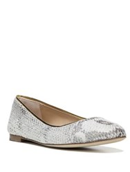 Diane Von Furstenberg Cambridge Metallic Python Embossed Leather Flats Natural