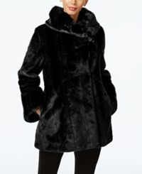 Jones New York Faux Fur Asymmetrical Coat Black