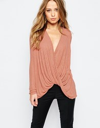 Y.A.S Tia Wrap Top In Print Pink