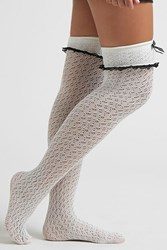 Forever 21 Crochet Lace Tights White