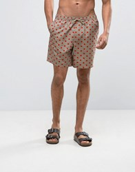 Asos Swim Shorts In Stone With Polka Dot Print In Mid Length Stone Beige