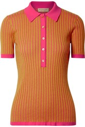 Burberry Yellowstone Ribbed Cashmere And Silk Blend Sweater Saffron