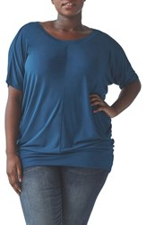 Universal Standard Plus Size Origami Collection Carrea Relaxed Tee Sailor Blue