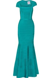 Herve Leger Bandage Gown Turquoise