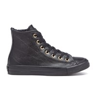 Converse Women's Chuck Taylor All Star Leather Fur Hi Top Trainers Black Black