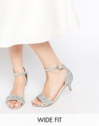 New Look Wide Fit Vista Silver Glitter Mid Heel Sandals