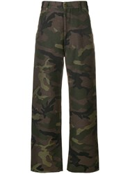 Junya Watanabe Man Camouflage Print Straight Trousers Green