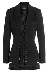 Anthony Vaccarello Wool Corset Blazer Black