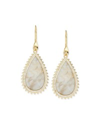 White Lace Agate Teardrop Earrings Gold Eddie Borgo