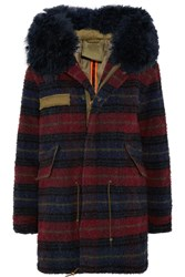 Mr And Mrs Italy Shearling Trimmed Boiled Wool Parka Navy