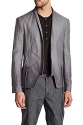 John Varvatos Gray Woven Open Front Shawl Lapel Trim Fit Jacket