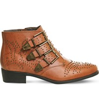 Office Lucky Charm Leather Ankle Boots Tan Leather