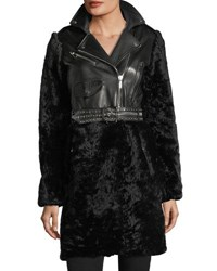 Nour Hammour Shearling And Leather Moto Coat Black