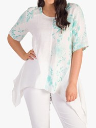 Chesca Linen Eclipse Hem Top White Jade