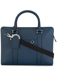 Bulgari Double Strap Briefcase Blue