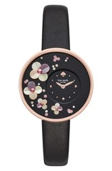Kate Spade New York Metro Leather Strap Watch 36Mm Black Rose Gold