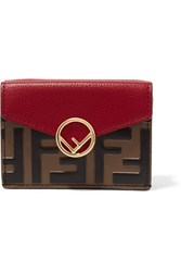 Fendi Embellished Embossed Leather Wallet Red