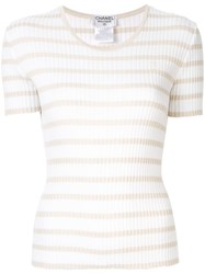 Chanel Vintage Knitted Striped Top White