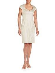 Kay Unger Cap Sleeve Sheath Dress Gold