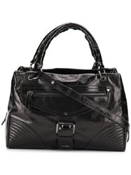 Twin Set Zipped Varnished Tote Black