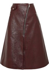 Beaufille Garbo Faux Lizard Effect Leather Midi Skirt Merlot