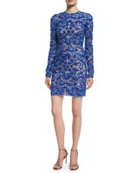 Naeem Khan Fully Embroidered Long Sleeve Cocktail Dress Royal Blue