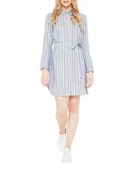 Miss Selfridge Flute Sleeve Striped Shirtdress Multicolor