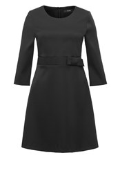 Hallhuber Satin Dress With Bow Feature Black