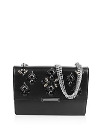 Ivanka Trump Mara Cocktail Embellished Leather Shoulder Bag Black Silver