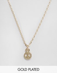 Ny Lon Nylon Gold Plated Necklace With Peace Charm Gold Plated