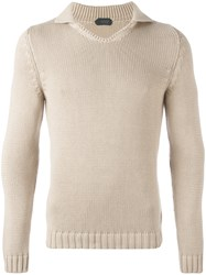 Zanone High Neck Slim Fit Jumper Nude Neutrals