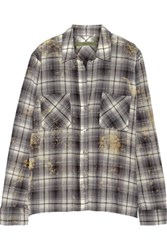 Enza Costa Plaid Woven Cotton Shirt Light Gray