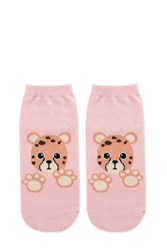 Forever 21 Cheetah Graphic Ankle Socks Pink Multi