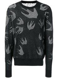 Mcq By Alexander Mcqueen Swallow Embroidered Sweater Black