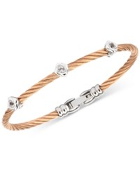 Charriol White Topaz Cable Bangle Bracelet 1 2 Ct. T.W. In Stainless Steel And Rose Gold Tone Pvd Stainless Steel