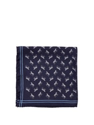 Alexander Mcqueen Tiger Print Pocket Square Navy Multi