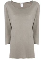 Le Tricot Perugia Scoop Neck Cropped Sleeve Sweater Brown