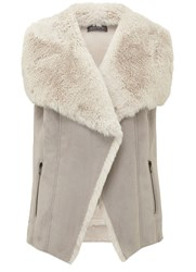 Mint Velvet Grey Faux Fur Mix Gilet Grey