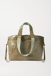 Isabel Marant Wardy Canvas Trimmed Crinkled Leather Tote Green