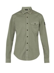 Belstaff Steadway Stretch Cotton Twill Shirt Green