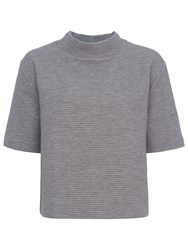 French Connection Marin Ottoman Jersey Top Light Grey Melange