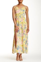 Pink Owl Lace Up Floral Maxi Dress Yellow
