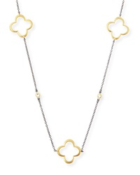 Freida Rothman Belargo Large Open Clover And Cz Station Necklace