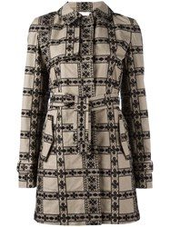Giamba Floral Panelled Coat Nude Neutrals