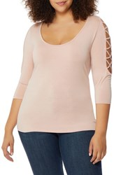Rebel Wilson X Angels Plus Size Women's Laced Shoulder Top Evening Sand