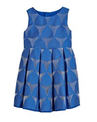 Milly Minis Prism Fil Coupe Pleated Dress Cobalt
