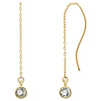 Melissa Odabash Swarovski Crystal Chain Drop Earrings Gold