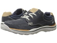 Skechers Relaxed Fit Expected Orman Navy Canvas Men's Lace Up Casual Shoes Blue